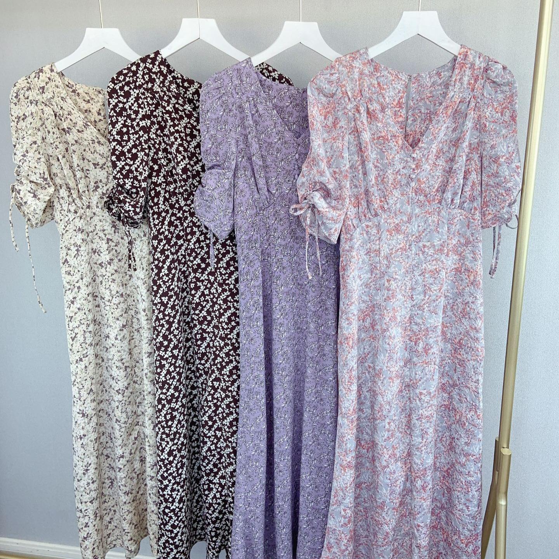 Kuzuwata V Neck Slim Waist Print Trumpet Dress 2021 Spring Summer Japan Style Women Dresses Sweet Puff Short Sleeve Vestidos
