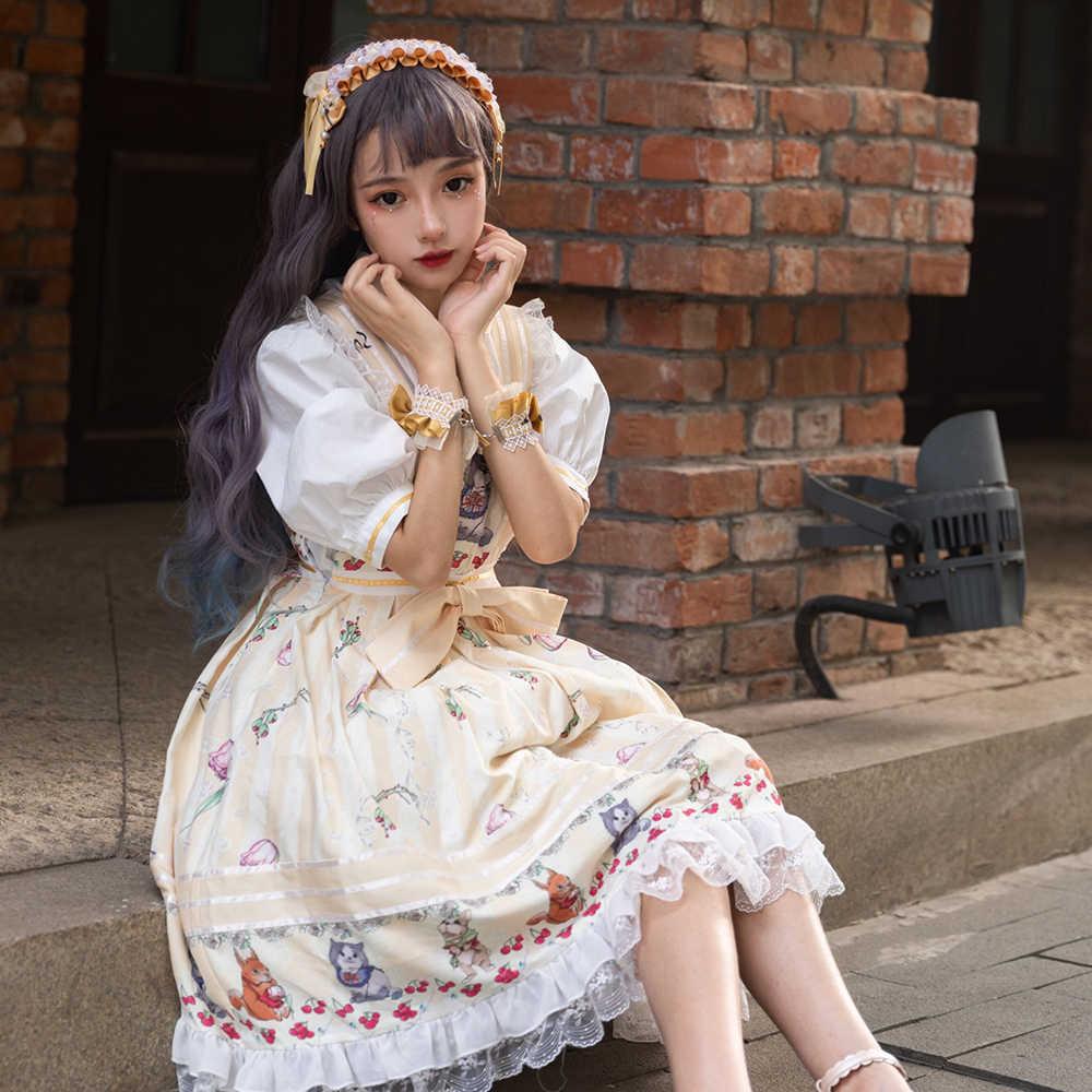 Melonshow Sweet LolitaพลัสขนาดสีเหลืองKawaiiฤดูร้อนSundressผู้หญิงคลาสสิกกระโปรงLolita Loli VINTAGE Victorianเสื้อผ้า