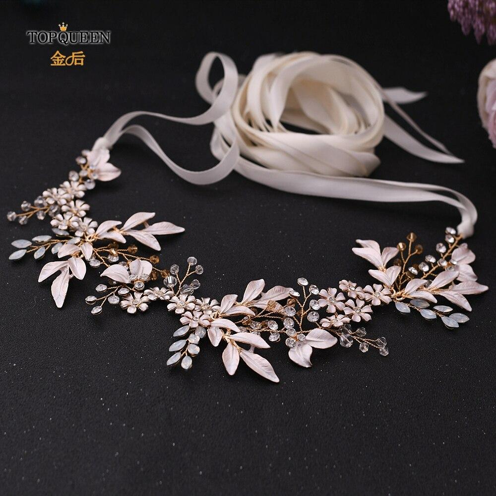 TOPQUEEN Goldenfloralleafbelt Indian Beaded Belt wedding Belt  Environmental Alloy Bridal Belt Sparkly Belt SH278