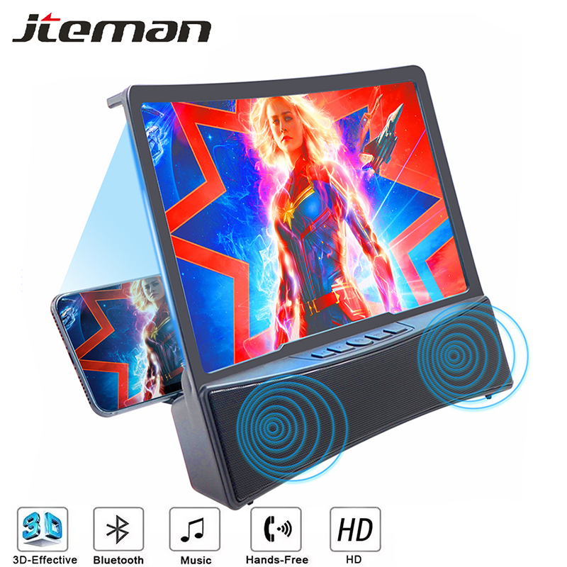 3D Mobile Phone Screen Magnifier Support Dual Bluetooth Speaker Holder Projector HD Video Amplifier Magnifying Glass Desk Stand