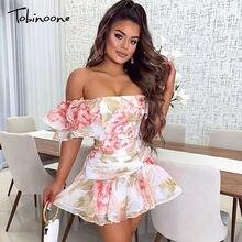 Tobinoone vestido de verão 2020 retro boho mulheres fora do ombro floral impressão mini vestido sexy borboleta manga vestido de festa