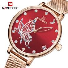 2020 NAVIFORCE Luxus Marke Frauen Uhren Mode Lässig Quarz Damen armbanduhr stahlband Wasserdichte Uhr Relogio Feminino
