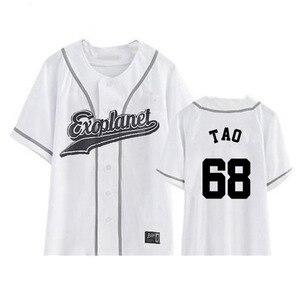 Футболка EXO Planet 3 EXOrDIUM в Сеульском стиле, KPOP, унисекс, на пуговицах, периферийная помощь, футболка 2020, летние топы, модные корейские футболки д...