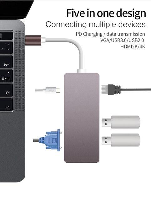 Thunderbolt 3 Docking USB C USB3.1 Type C to HDMI 4K VGA USB3.0 USB2.0 HUB USB C PD 5 in1 Adapter for Macbook Pro 2017 2016