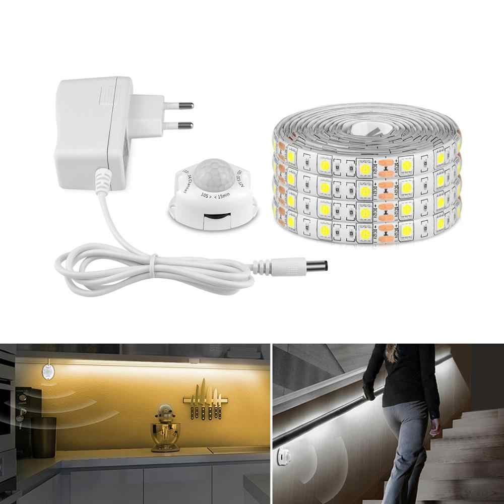 IP65 SMD 5050 2835 LED Pita Pita Dioda DC 12V PIR MOTION SENSOR LED Strip Lampu Uni Eropa US Adaptor 1 M-5 M Perekat LED Dapur Lampu