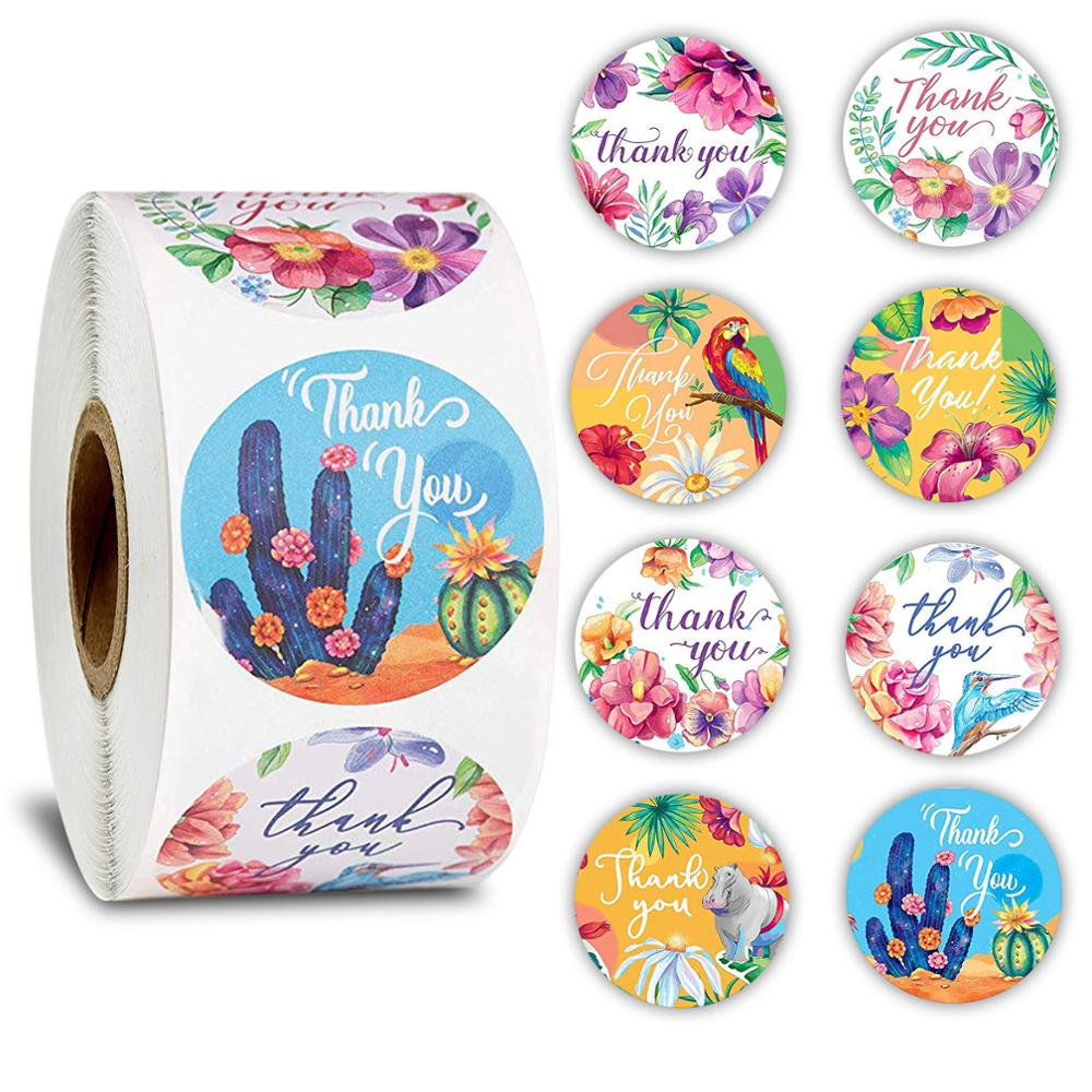 500Pcs Per Roll Floral Thank You Stickers 1inch Round Animal Seal Label Handmade Scrapbooking Envelope Seal Stationery Sticker