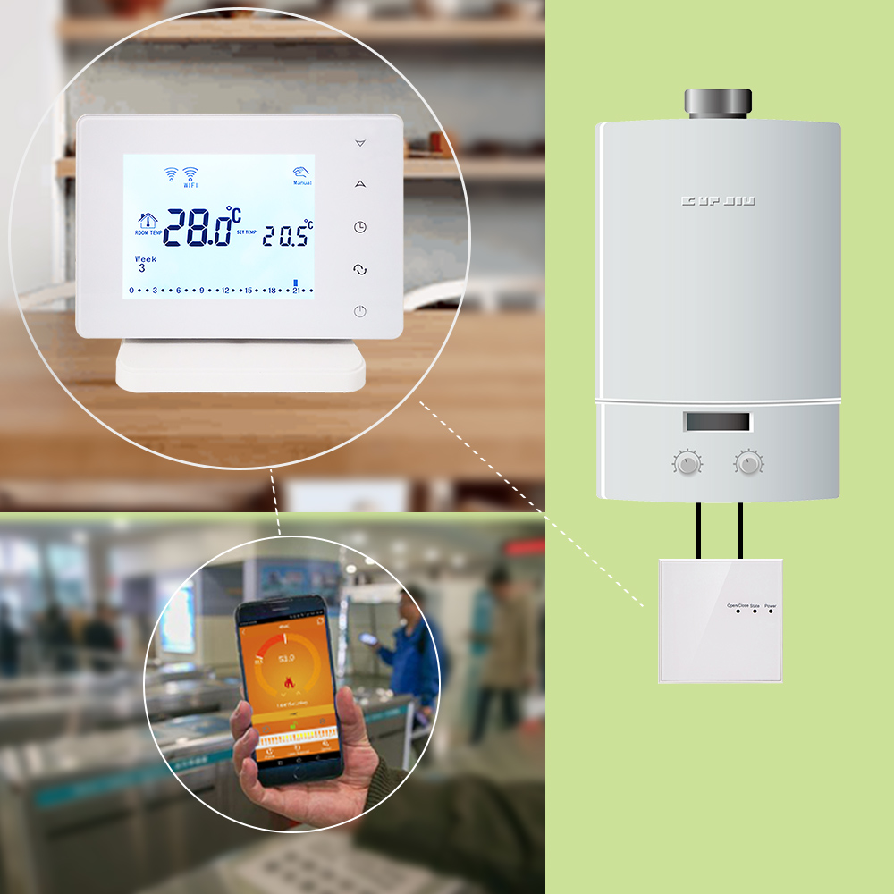 Image 2 - Beok BOT306RF WIFI  Wireless Thermostat for Gas Boiler Smart Home Temperature Controller Work with Google Home & Alexa-in Temperature Instruments from Tools