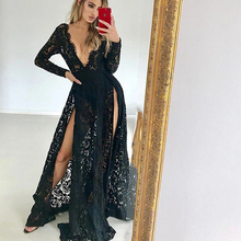 цена на Eightree Sexy Split Prom Dresses V-neck Long Sleeves Formal Prom Dress Black Lace Prom Gown Long Robe de Soiree Prom Party Dress
