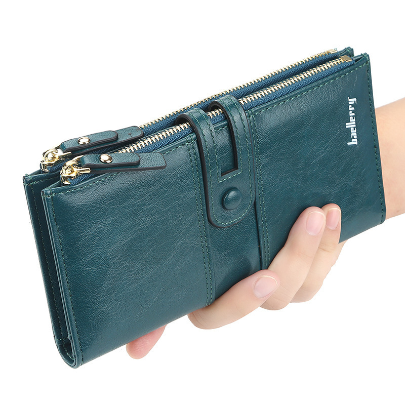 S.IKRR Women's Wallet Female Purse With Zipper Slim Wallet Women Long Wallet Patchwork Big Capacity Clutch Money Bag Card Holder
