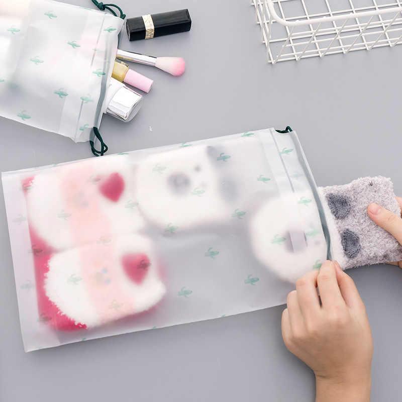 2020 جديد لطيف الصبار شفافة حالات التجميل حقيبة السفر حقيبة مستحضرات تجميل المرأة الرباط يشكلون المنظم كيس التخزين غسل عدة