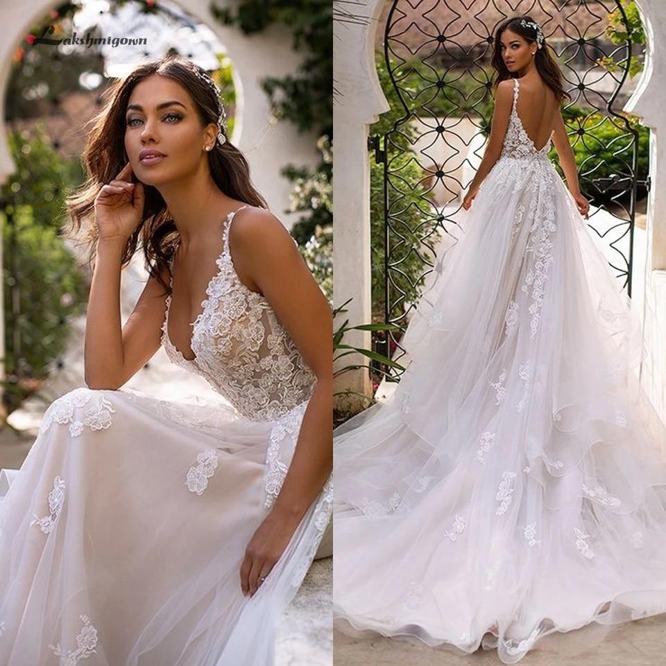 Lakshmigown Country Wedding Dresses 20 Sexy Bridal Dress Vintage Lace  Appliques Princess Tulle Wedding Gowns Long Train