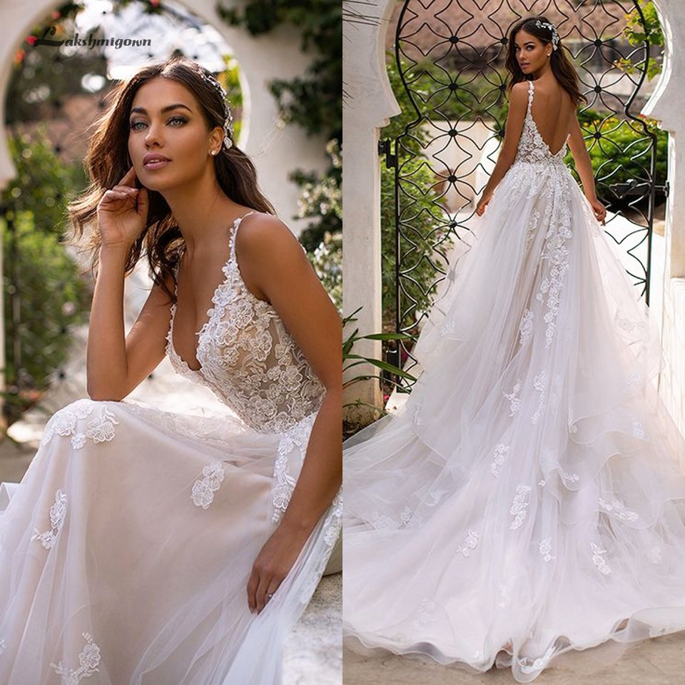 Lakshmigown Country <font><b>Wedding</b></font> <font><b>Dresses</b></font> 2020 <font><b>Sexy</b></font> Bridal <font><b>Dress</b></font> Vintage Lace Appliques Princess Tulle <font><b>Wedding</b></font> Gowns Long Train image