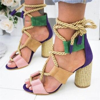 2020 Summer Espadrilles Women Sandals High Heel Pointed Mouth Sandals Hemp Sandal High Heels Open Toe Shoes Woman