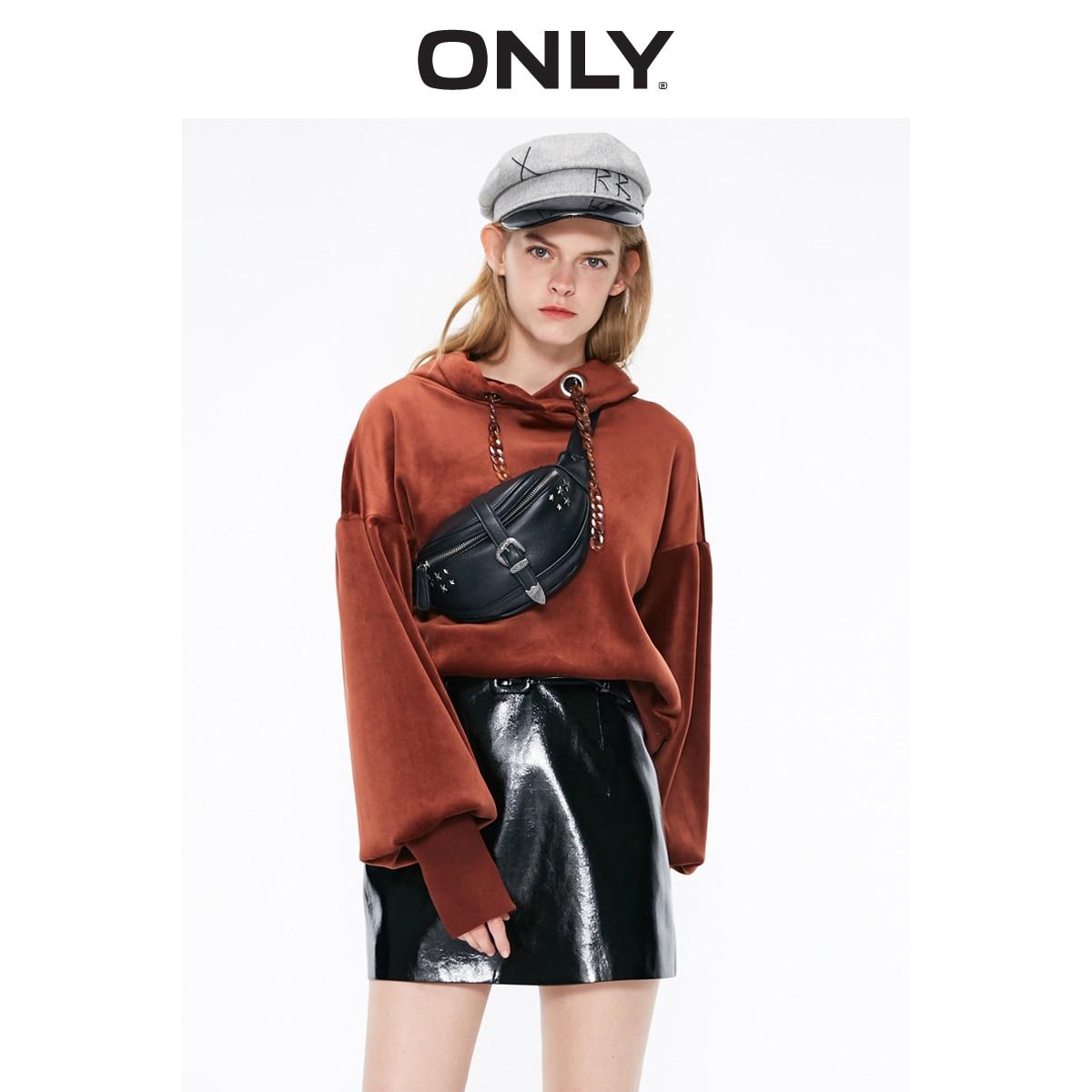 ONLY Women's  Autumn New Solid Color Retro Velvet Loose Hooded Round Neck Hoodie Sweatshirt |11919S522