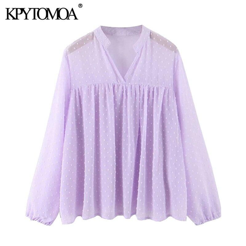 KPYTOMOA Women 2020 Fashion Semi-sheer Dot Chiffon Blouses Vintage V Neck Long Sleeve Loose Female Shirts Blusas Chic Tops