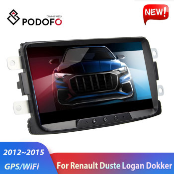 Podofo 2Din Android Car Radio Car Multimedia Player GPS Wifi 2 DIN Autoradio For Renault Sandero Duste Logan Dokker Car Stereo image
