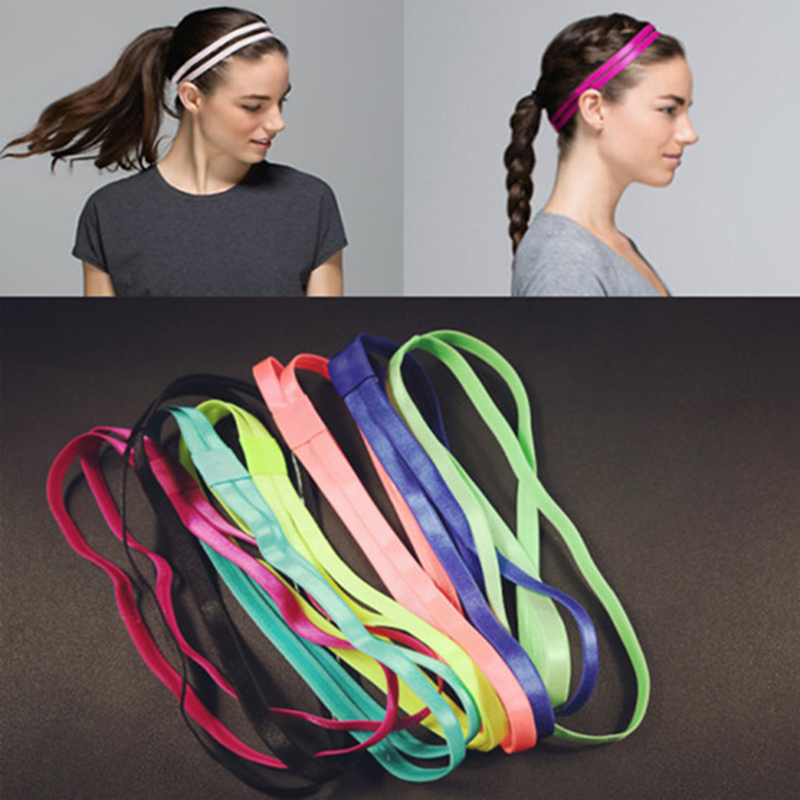 Women Hair Band Double Headband With Anti-slip Rubber Super Elastic Ultra-thin For Girls Sports Fitness Running Yoga Training