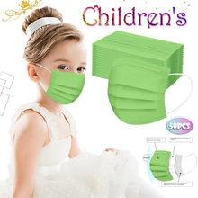 Máscara de pano para crianças máscara de rosto verde 50 pçs 3 dobras uso descartável impermeável verde respirável mascarilla boca