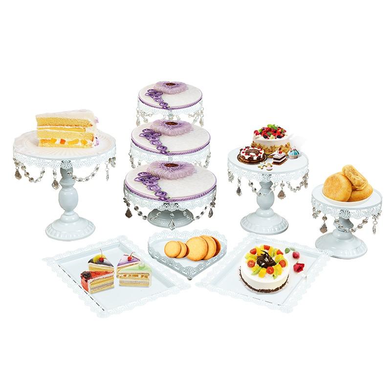Ev ve Bahçe'ten Standlar'de 4 adet 18 adet altın kristal kek standı seti gümüş metal yüz düğün masa'da  Grup 1
