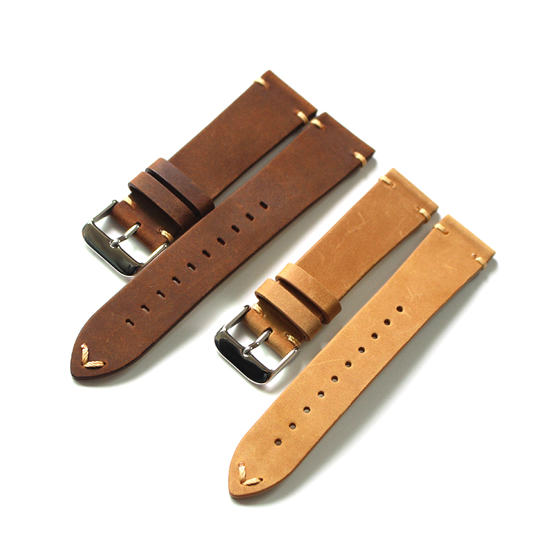 Handmade Crazy Horse Skin20 /22MM Retro Men's Leather Strap Soft Simple Strap Mechanical watches leather band watch strap 22mm