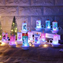Christmas Santa Claus Snowman LED Candle Light Xmas Party Home Table Lamp Decor Claus/Snowman Pattern Night 3battery