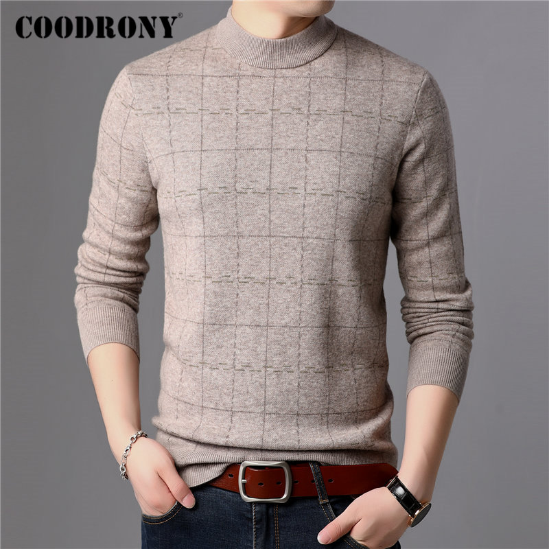 COODRONY Brand Sweater Men 100% Merino Wool Pullover Men Thick Warm Winter Sweaters Soft Cashmere Casual Plaid Pull Homme 93026