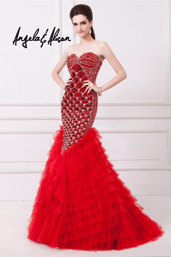 Tiered Beading Robe De Soiree 2016 New Hot Sexy Sweetheart Vestidos Sequined Evening Party Gown Red Mermaid Long Prom Dresses