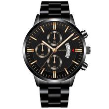 Fashion 2020 Mens Watch Quartz Classic Black Wristwatch Stee