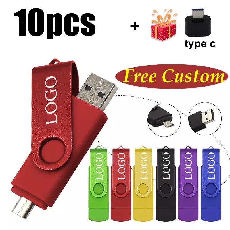 Free Custom LOGO 10PCS OTG 2.0 USB Flash Drive 8GB 16GB 32GB 64GB USB Stick Pen Drive 1GB 2GB 4GB Pendrive for Smart Phone/PC