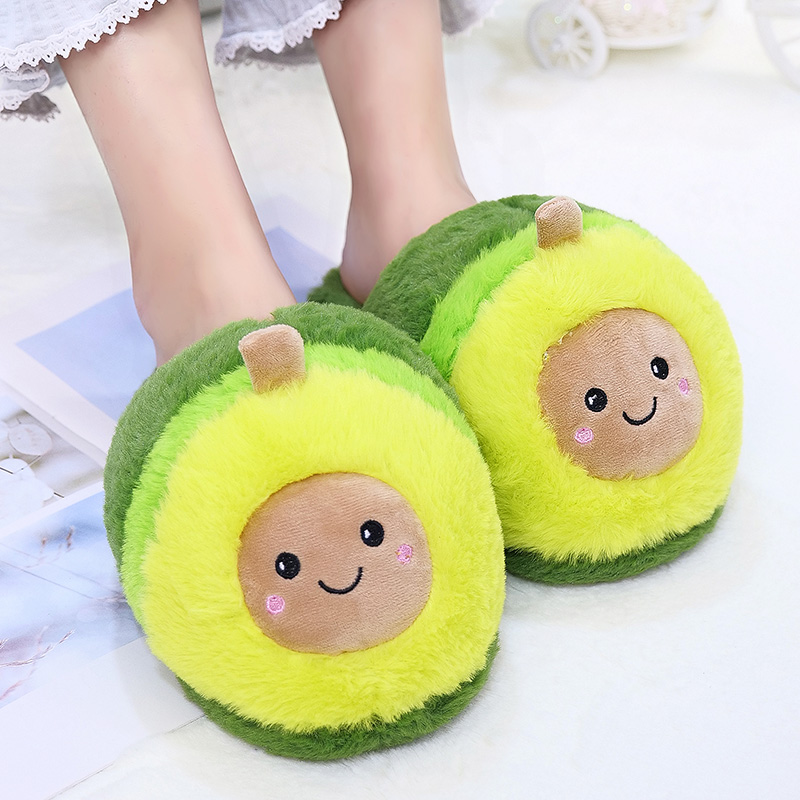 Kawaii Plush Avocado Slippers Fruit Toys Cute Pig Pikachu Unicorn Warm Winter Adult Shoes Doll Women Indoor Household Products
