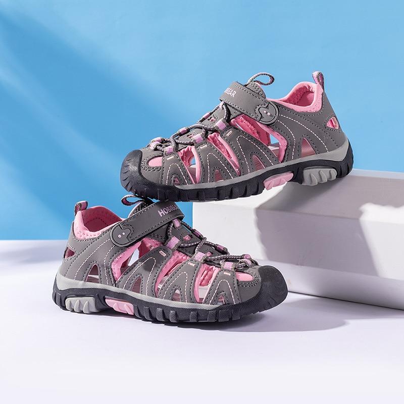 ULKNN Sandals Summer Boys Girls Leather Sandals For Baby Flat  Children Beach Shoes Kids Sports Soft Non-slip Casual Toddler