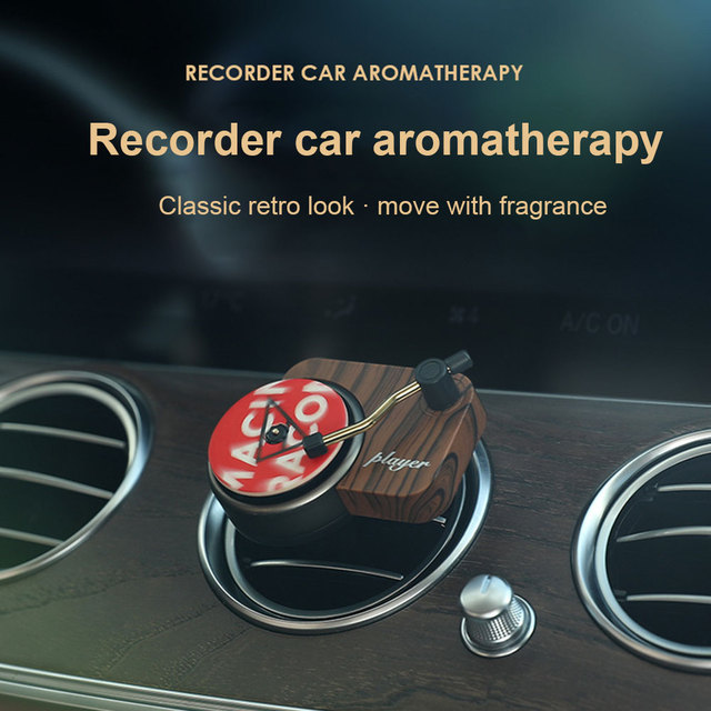 Interior Mini Clip Air Vent Record Player Shape Universal Vintage Decoration Freshener Car Perfume Fragrance Diffuser Auto 3