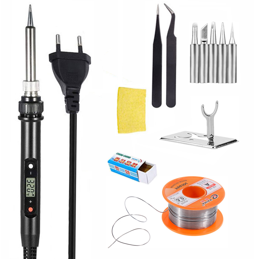 220V 80W LCD Electric Soldering Iron 110V Adjustable Temperature Solder Iron Rework Station Accessories 200 To 450 Celsius