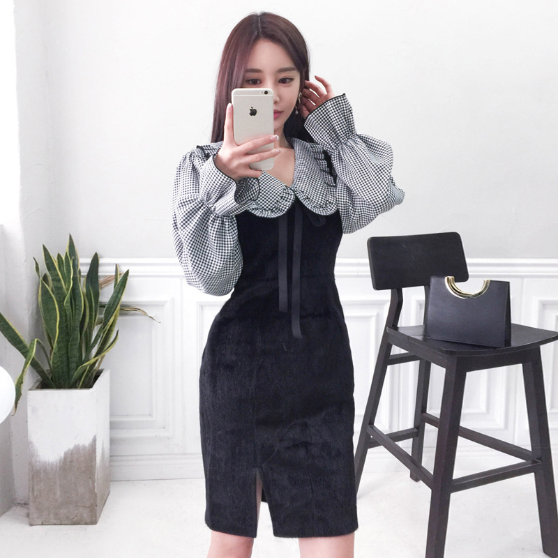 2020 Spring WOMEN'S Dress New Products Korean-style Elegant Doll Plaid Bell Sleeve Shirt Slim Fit Vest Skirt Two-Piece Set