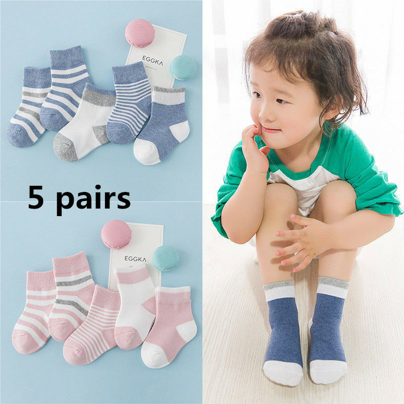 5 Pairs a set Baby Boy Girl Cartoon Cotton Socks Toddler Kids Soft Sock 1-5T US