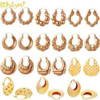 Pendientes Ethlyn con forma de bolsa para mujer, chapado en oro, pentagrama hueco pendiente circular, pendientes redondos, joyas de boda de última moda E180