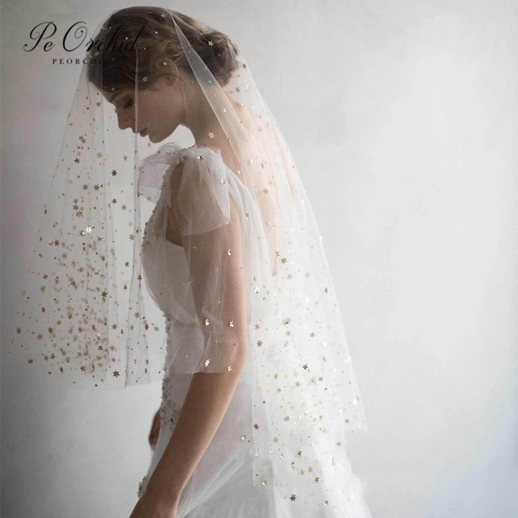 PEORCHID Wedding Gold Star Veil 2 Layer With Comb Mariage Accessoires 2020 Sparkle White Ivory Short Bridal Veil