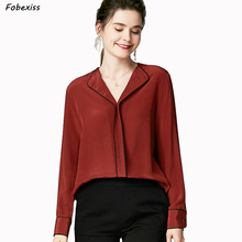100% Silk Shirt Women Elegant Red Pure Crepe Blouse Long Sleeve Pullover Chinese Shirts Office Lady Plus Size