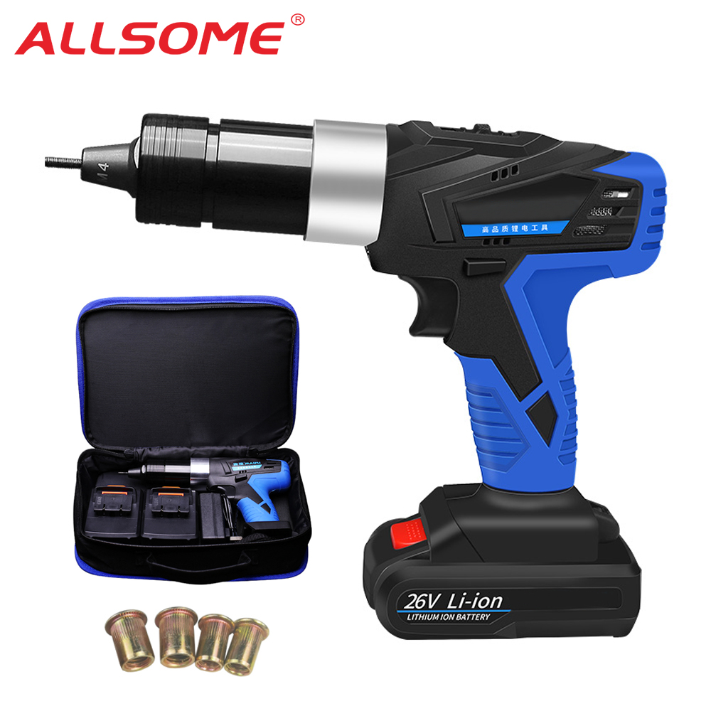 ALLSOME 26V Portable Cordless Electric Rivet Gun Rechargeable Riveter Battery Riveting Tool Pull Rivet Nut Tool 2 Battery HT2894