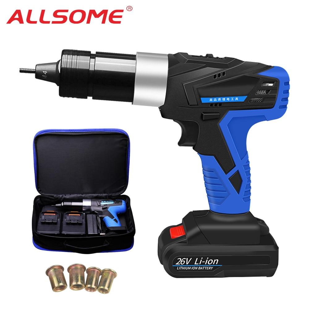 ALLSOME 26V Portable Cordless Electric Rivet Gun Rechargeable Riveter Battery Riveting Tool Pull Rivet Nut Tool 2 Battery HT2894