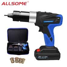 ALLSOME 26V przenośny akumulatorowy elektryczny nit pistolet akumulator nitownica narzędzie do nitowania Pull nakrętka nitu narzędzie 2 bateria HT2894