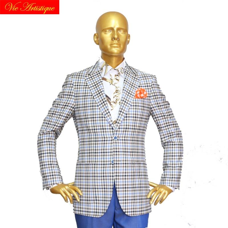 Custom Tailor Made Men's Bespoke Suits Business Formal Wedding Ware Bespoke 2 Piece (Jacket+Pants) Grey Plaid Wool Slim Fit 2019