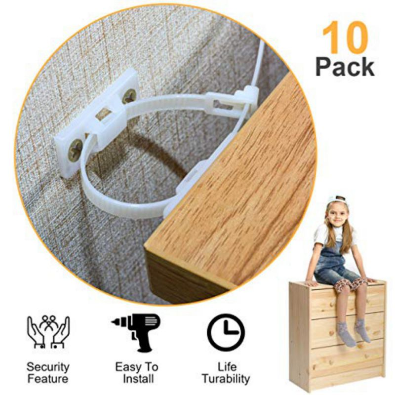 10 Set Child Furniture Restrictor Secure Lock Strap Anchors Anti Tip Resistant Straps Child Safety Baby Pets Security Protection