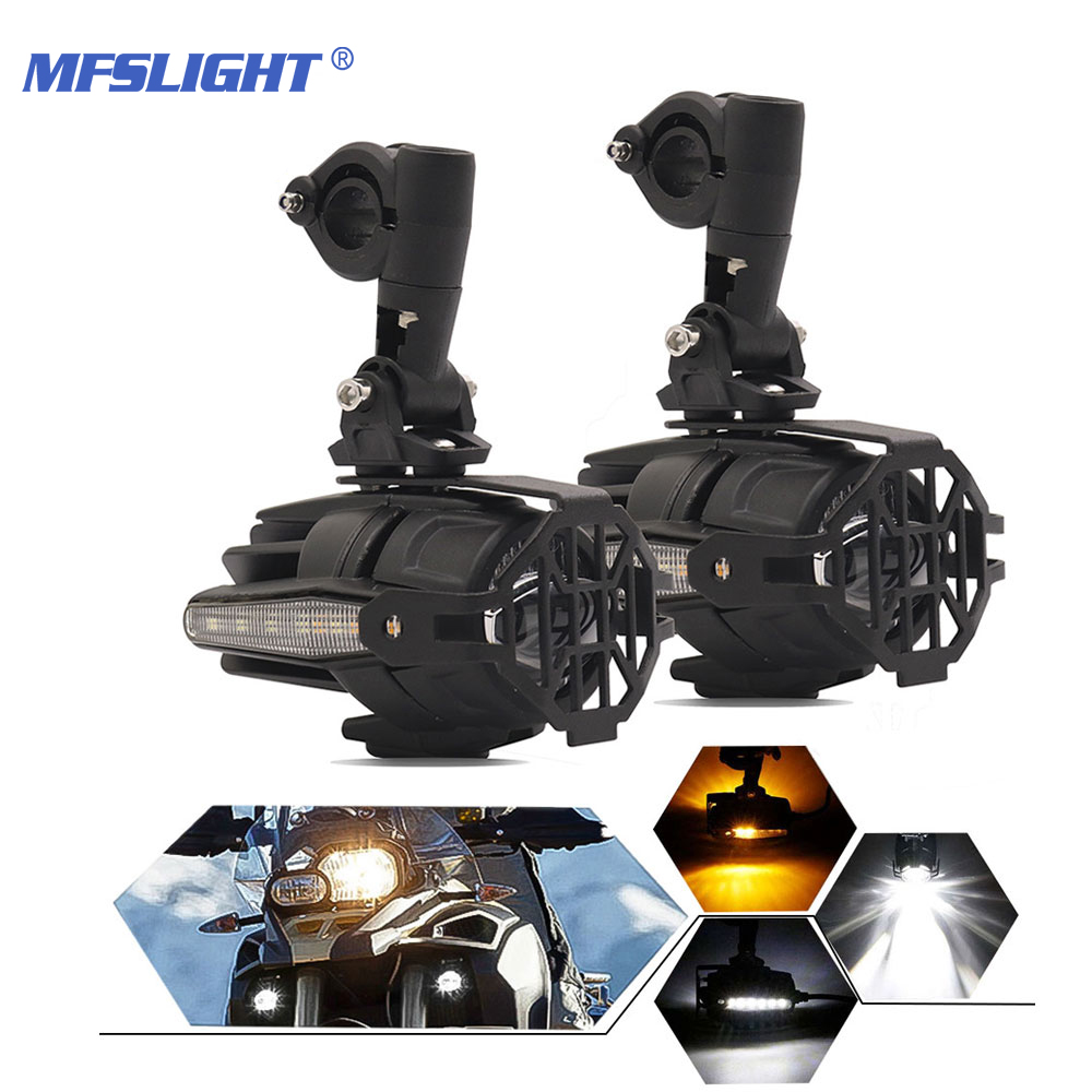 LED Motorcycle Headlight Turn Signal Flashing Auxiliary Headlamp Spotlight Fog Daytime Running Light For BMW R1200GS F800 F310G