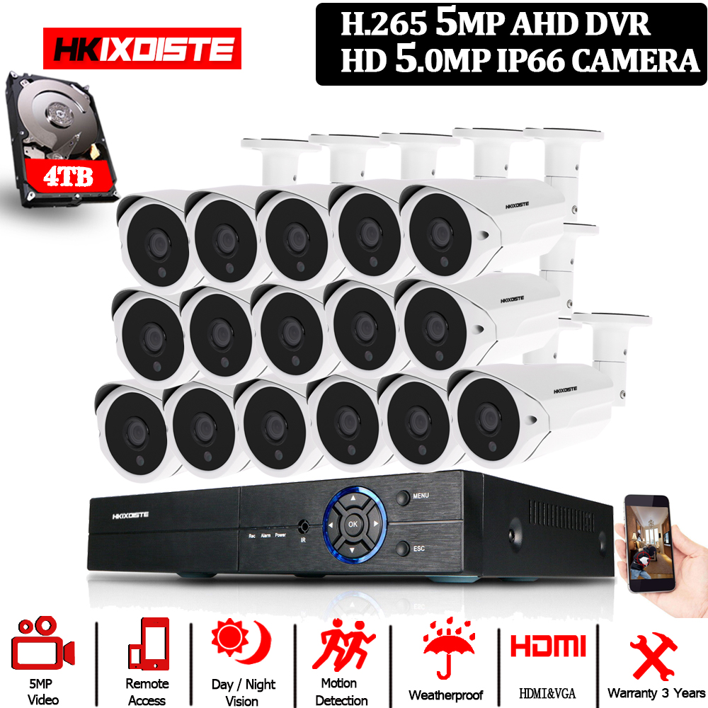H.265 5MP 16CH AHD DVR Kit Onvif 16Pcs 5.0MP CCTV System Security POE IP Camera Full HD 5MP In/outdoor Video surveillance Camera-in Surveillance System from Security & Protection
