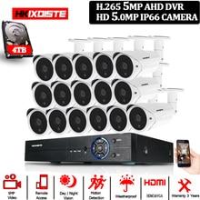 H.265 5MP 16CH AHD DVR Kit Onvif 16Pcs 5.0MP CCTV di Sicurezza del Sistema di Macchina Fotografica Analogica Full HD 5MP In/ di Video sorveglianza esterna Della Macchina Fotografica