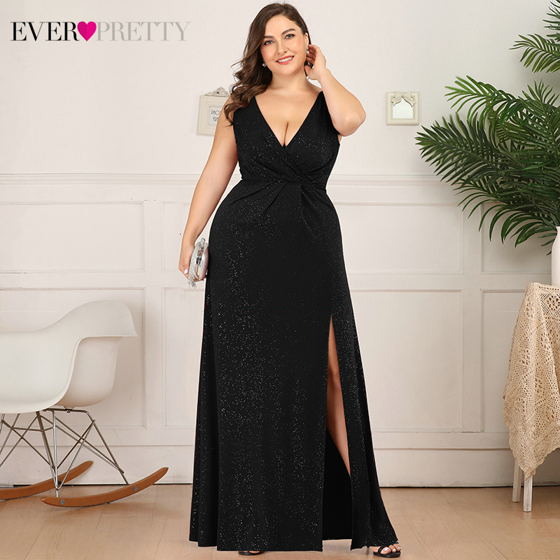 Sexy Glitter Evening Dresses Plus Size Ever Pretty Ruched A-Line Double V-Neck Long Split Sparkle Holiday Party Gowns Vestido