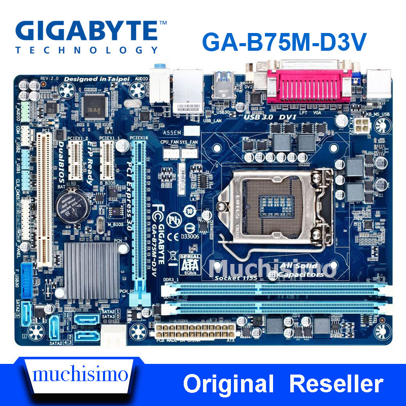 Original Gigabyte GA-B75M-D3V LGA 1155 Motherboard DDR3 B75M-D3V 16GB USB2.0 USB3.0 B75 Desktop Motherboard Refurbished
