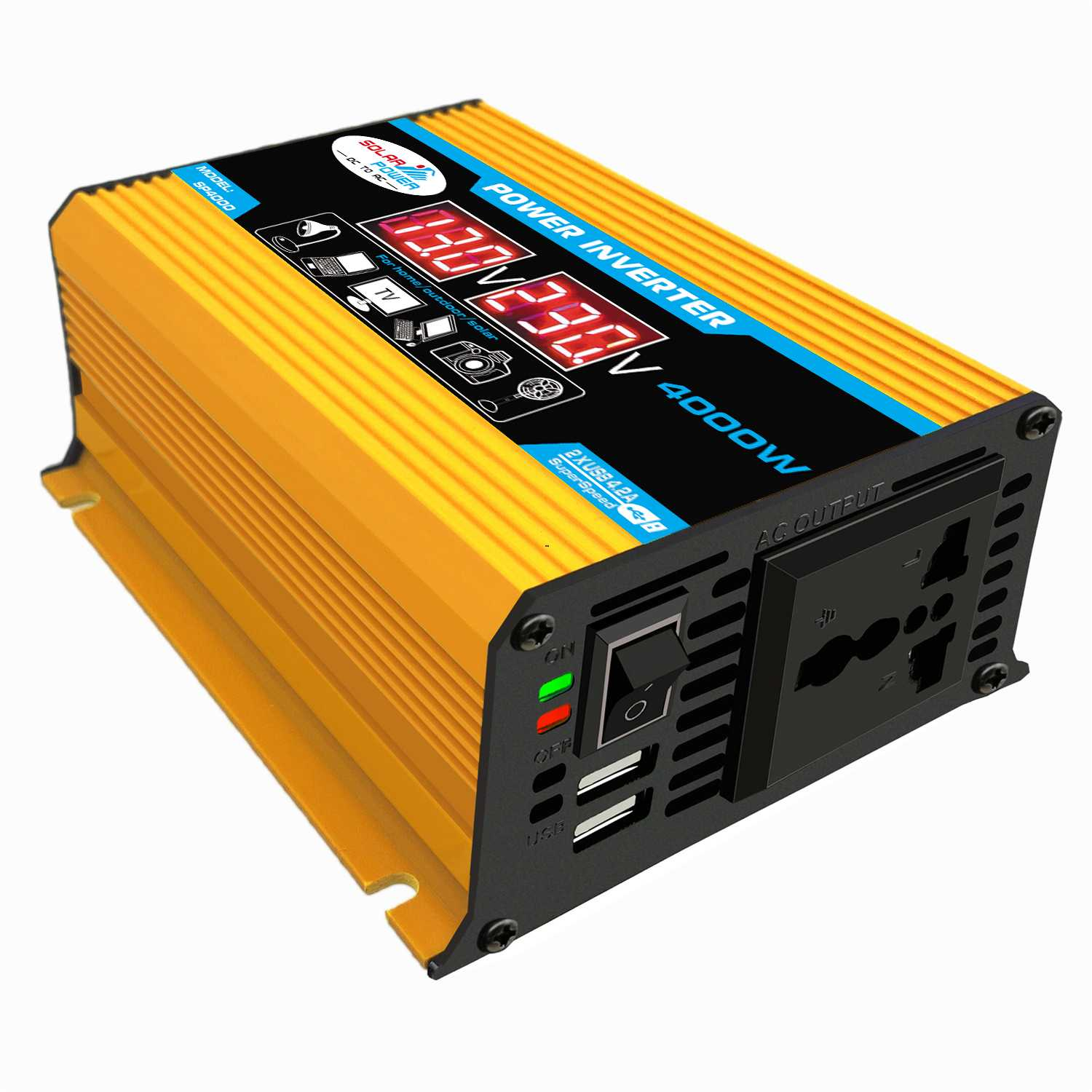 Car Inverter 12V 220V Max 2000W Voltage Transformer Modified Sine Wave Power Inverter DC12V To AC 110V/220V Converter