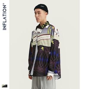 Image 4 - אינפלציה 2020 FW Oversize גברים חולצה Streetwear 2020 סתיו מצחיק דיגיטלי הדפסה ארוך שרוול גברים חולצה Harajuku גברים חולצה 92155W